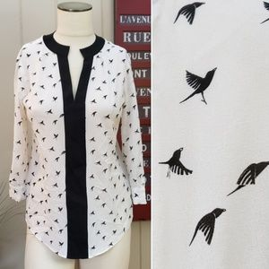 Cynthia Steffe | XS bird print tunic top black
